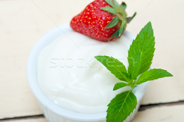 organic Greek yogurt and strawberry Stock photo © keko64