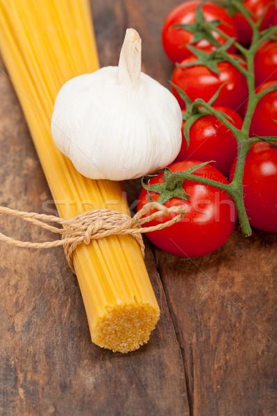 Stockfoto: Italiaans · fundamenteel · pasta · ingrediënten · vers · kerstomaatjes