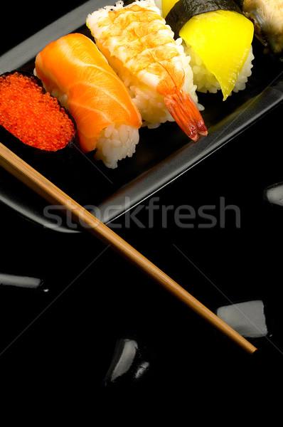 Stockfoto: Sushi · plaat · vers · zwarte · vis · achtergrond