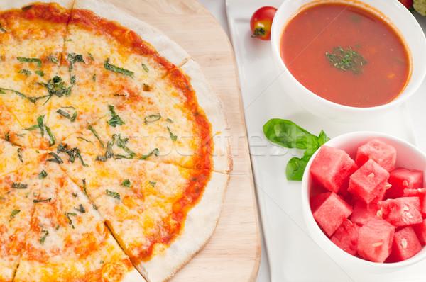 Stock fotó: Olasz · eredeti · vékony · pizza · leves · görögdinnye