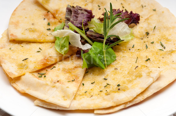 garlic pita bread pizza with salad on top Stock photo © keko64