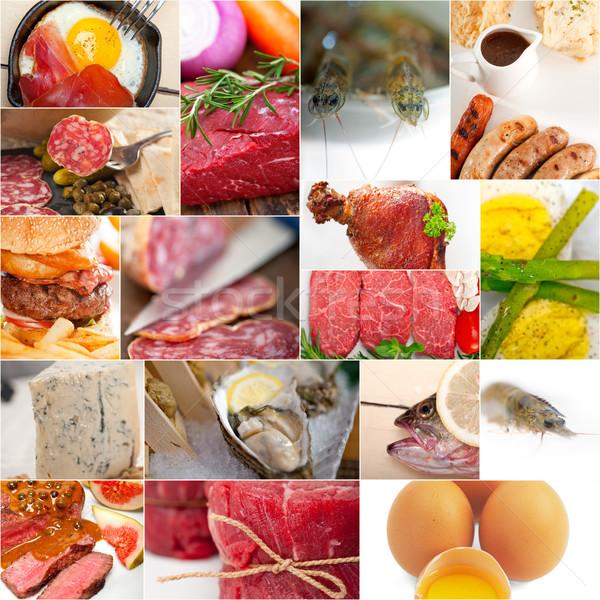 Alto proteína alimentos colección collage blanco Foto stock © keko64
