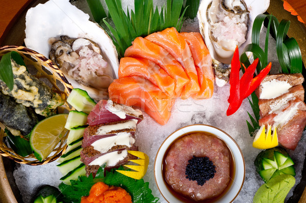 Stock photo: fresh sushi choice combination assortment selection