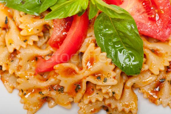 итальянский пасты бабочка томатном соусе томатный базилик Сток-фото © keko64