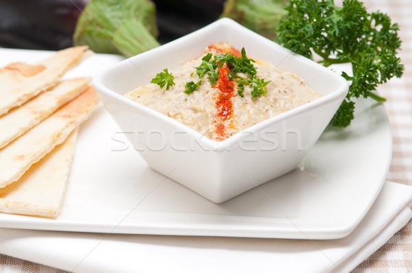 ストックフォト: 茄子 · ディップ · 新鮮な · 伝統的な · 食品 · パン