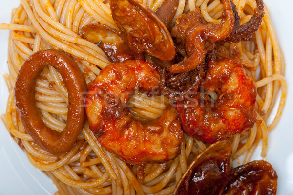 Foto d'archivio: Italiana · frutti · di · mare · spaghetti · pasta · rosso · salsa · di · pomodoro