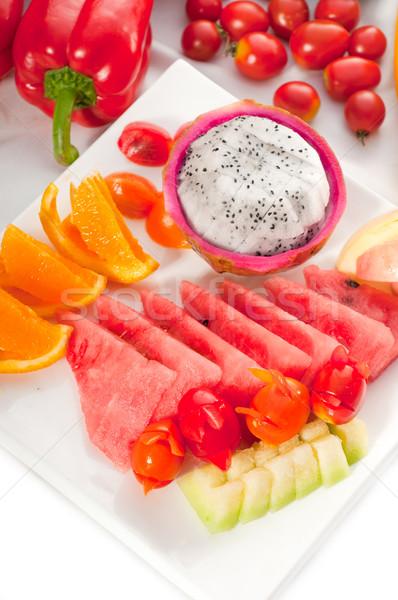 Gemengd plaat vers vruchten draak Stockfoto © keko64