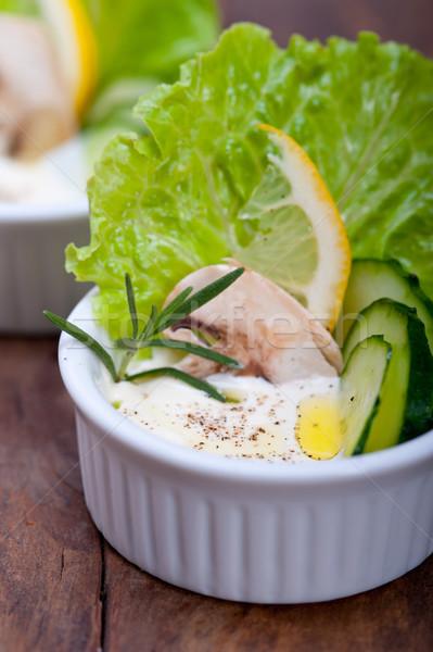 ストックフォト: 新鮮な · ニンニク · チーズ · ディップ · サラダ · オーガニック