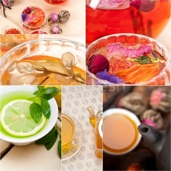 коллекция различный травяной чай вливание коллаж белый Сток-фото © keko64