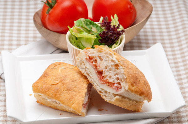 ciabatta panini sandwich with parma ham and tomato Stock photo © keko64