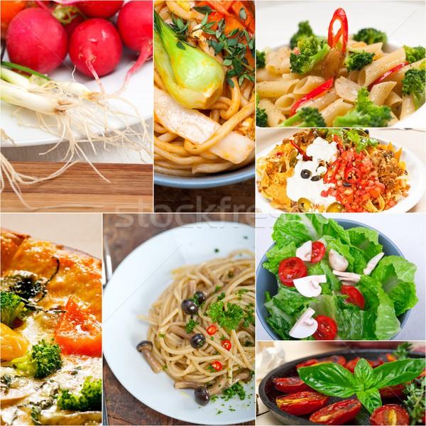 Saine végétarien vegan alimentaire collage blanche Photo stock © keko64
