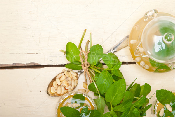 Arab hagyományos menta fenyőfa diók tea Stock fotó © keko64