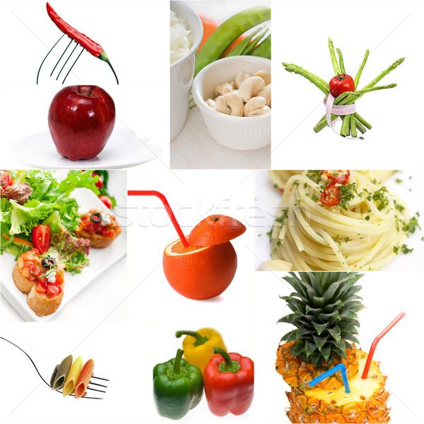 Orgánico vegetariano vegetariano alimentos collage brillante Foto stock © keko64
