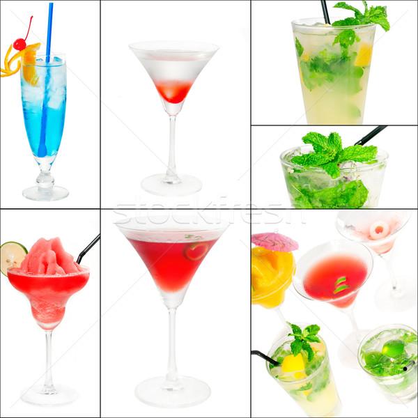 Stock fotó: Koktélok · kollázs · italok · tér · keret · gyümölcs