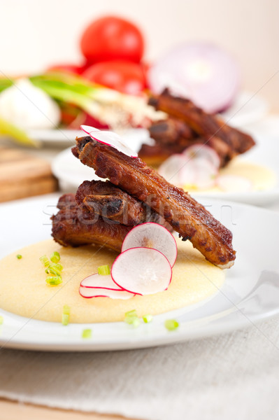 豚肉 リブ トウモロコシ クリーム ベッド 伝統的な ストックフォト © keko64