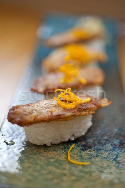 Japanese style sushi fried goose liver Stock photo © keko64