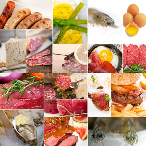 high protein food collection collage Stock photo © keko64