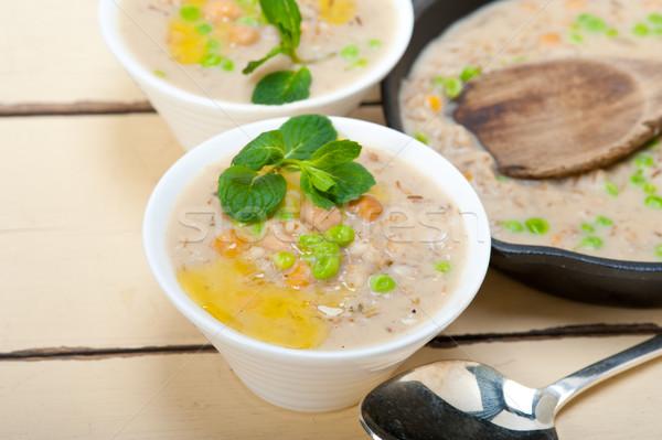ストックフォト: 中東 · 大麦 · スープ · ミント · 葉 · 先頭