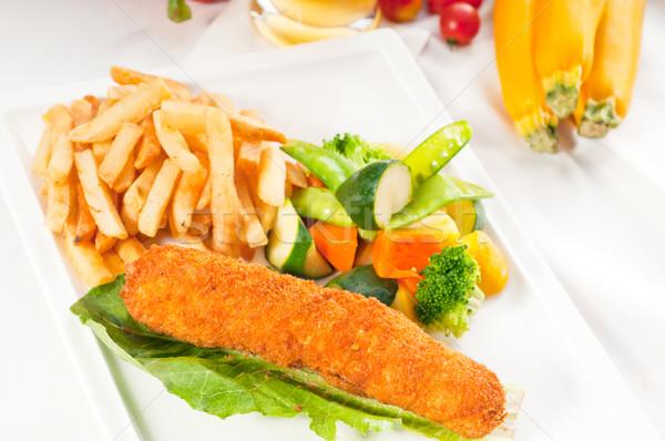 Stock fotó: Friss · csirkemell · zsemle · zöldségek · világos · sör · sör