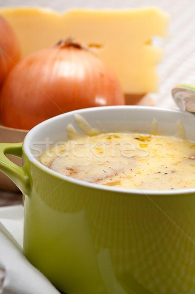 Photo stock: Oignon · soupe · fondu · fromages · pain · haut