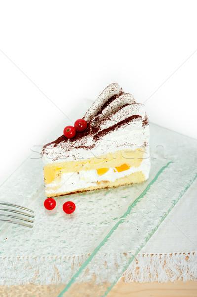 whipped cream and ribes dessert cake slice Stock photo © keko64