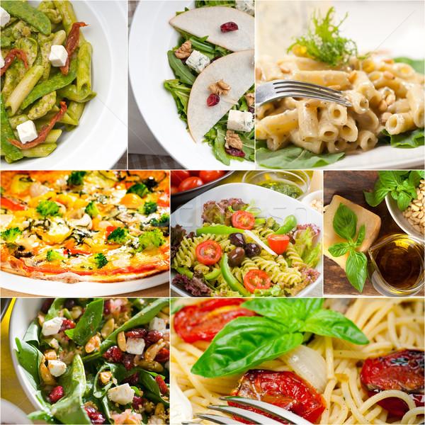 Sağlıklı lezzetli İtalyan gıda kolaj vejetaryen makarna Stok fotoğraf © keko64