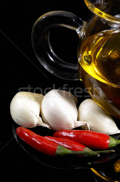garlic extra virgin olive oil and red chili pepper Stock photo © keko64