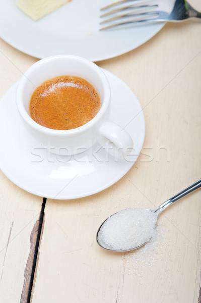 İtalyan espresso kahve beyaz ahşap masa arka plan Stok fotoğraf © keko64