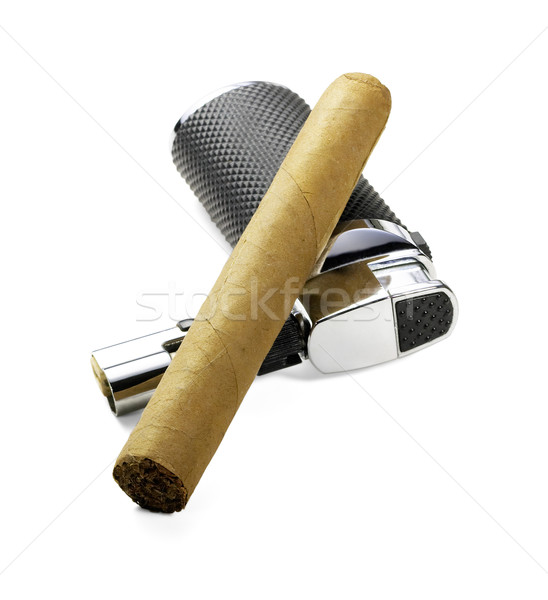 Cigarro encendedor cubano aislado blanco negocios Foto stock © keko64