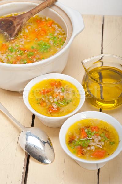 árpa húsleves leves stílus hagyományos tipikus Stock fotó © keko64