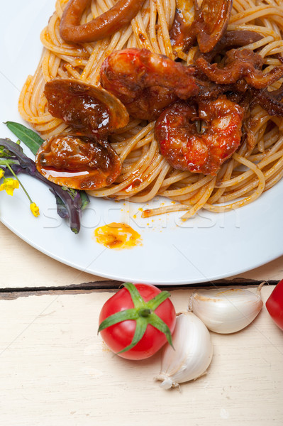 итальянский морепродуктов спагетти пасты красный томатном соусе Сток-фото © keko64