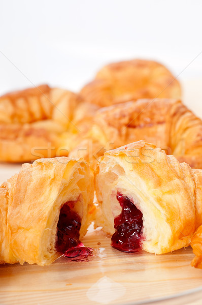 croissant French brioche filled with berries jam Stock photo © keko64