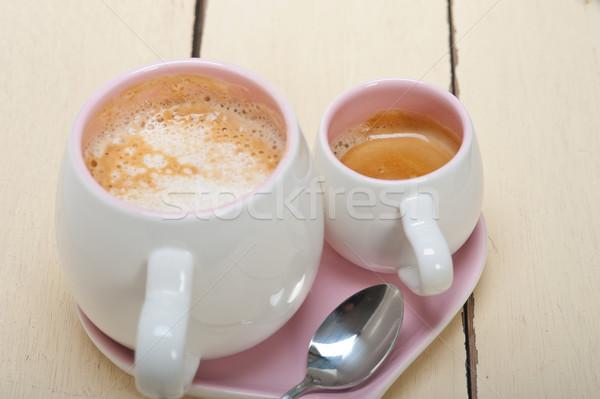 Espresso koffie geserveerd roze hart Stockfoto © keko64