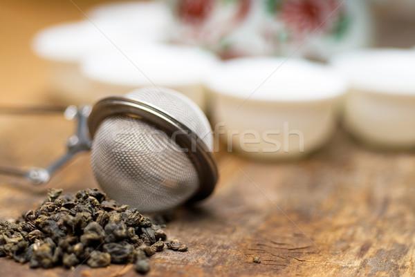 Verde chino té establecer secar tetera Foto stock © keko64