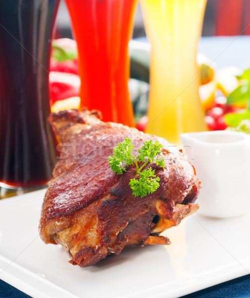 Photo stock: Originale · bbq · porc · servi · pommes · de · terre · choucroute