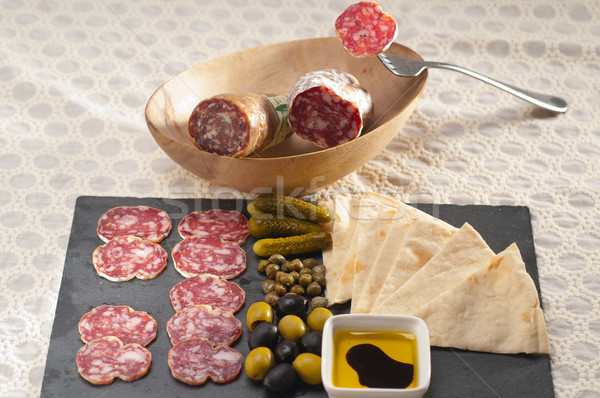 cold cut platter with pita bread and pickles Stock photo © keko64