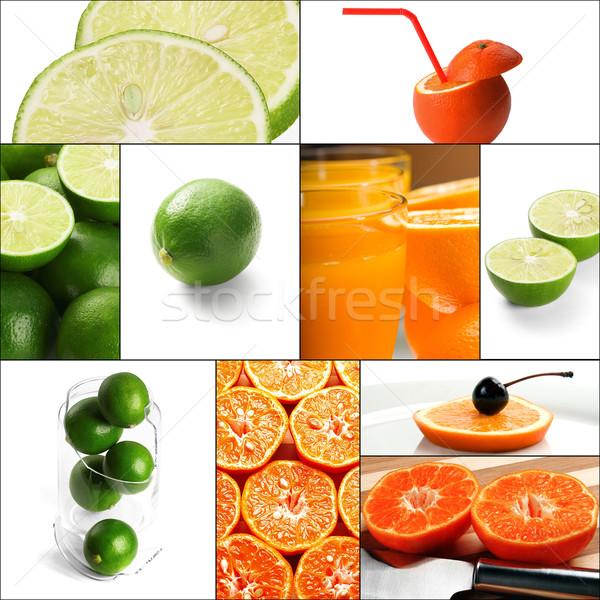 Photo stock: Fruits · collage · fraîches · carré · cadre