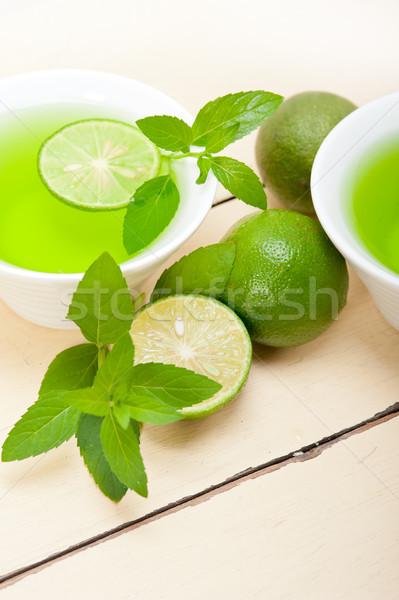 Foto stock: De · infusão · chá · cal · fresco · saudável