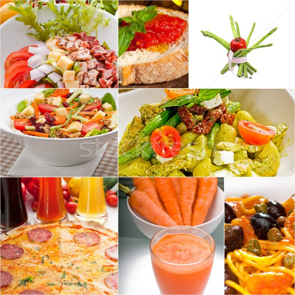 Saludable vegetariano vegetariano alimentos collage blanco Foto stock © keko64