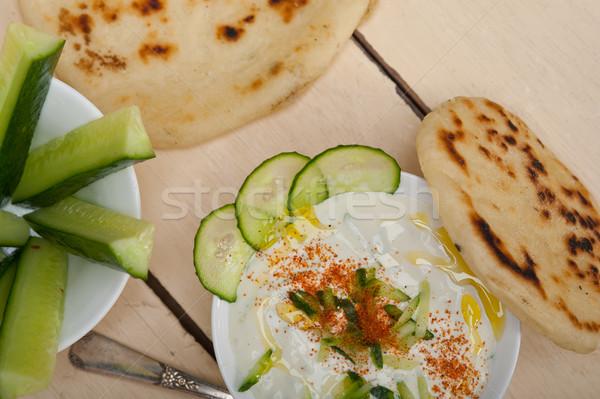 Foto d'archivio: Arab · Medio · Oriente · capra · yogurt · cetriolo · insalata