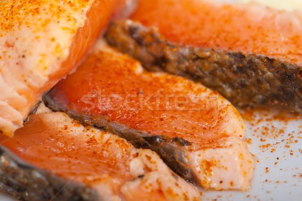 grilled samon filet with vegetables salad Stock photo © keko64