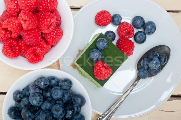 green tea matcha mousse cake with berries Stock photo © keko64