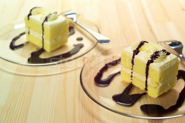 fresh cream cake closeup with chocolate sauce Stock photo © keko64