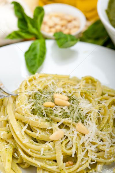 Photo stock: Italien · traditionnel · basilic · pesto · pâtes · ingrédients