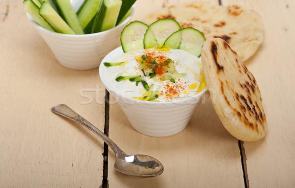 Arab Közel-Kelet kecske joghurt uborka saláta Stock fotó © keko64