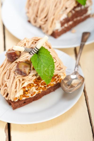 Castanha creme bolo sobremesa fresco Foto stock © keko64