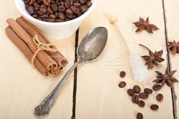 Eszpresszó kávé cukor fűszer fehér fa Stock fotó © keko64