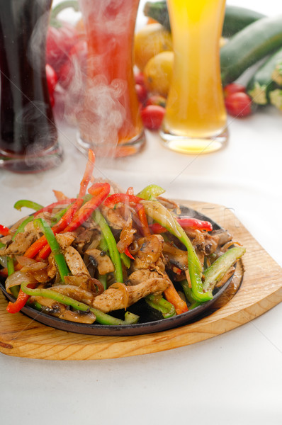 original fajita sizzling hot  on iron plate Stock photo © keko64
