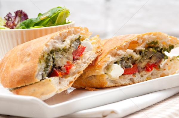 Panini zöldség feta olasz fetasajt étel Stock fotó © keko64