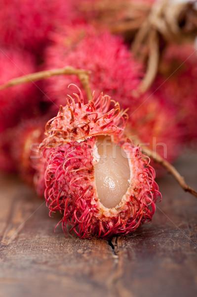 Taze meyve tropikal rustik ahşap masa ahşap Stok fotoğraf © keko64